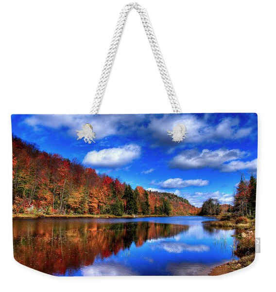 Autumn Reflections On Bald Mountain Pond Weekender Tote Bag