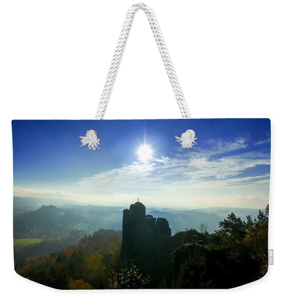Autumn Sunrise In The Elbe Sandstone Mountains Weekender Tote Bag