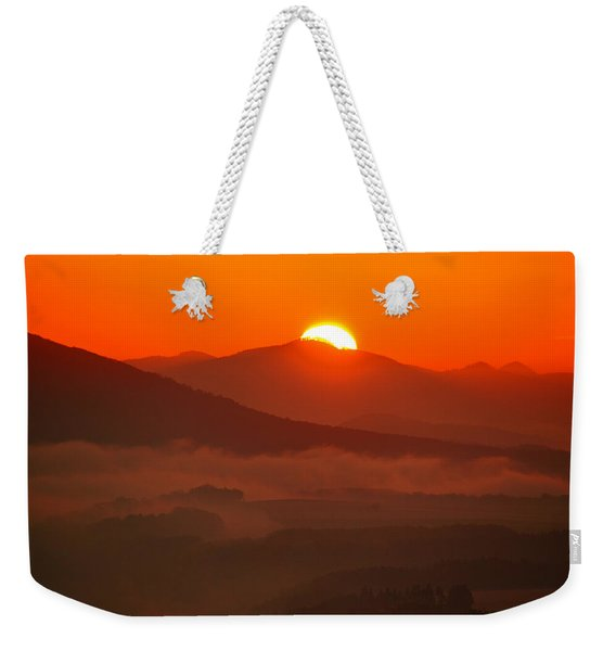 Autumn Sunrise On The Lilienstein Weekender Tote Bag