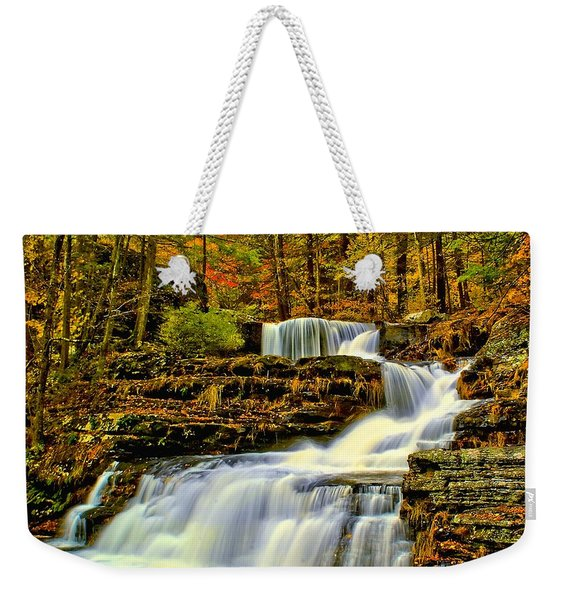 Autumn By The Waterfall Weekender Tote Bag