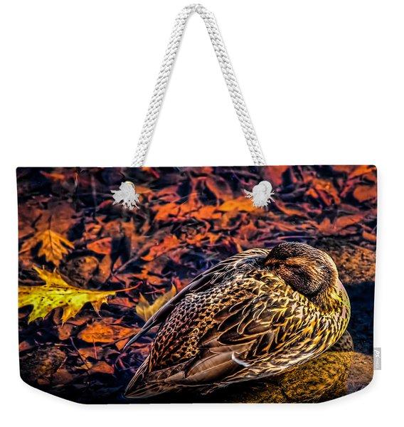 Autumns Sleepy Duck Weekender Tote Bag