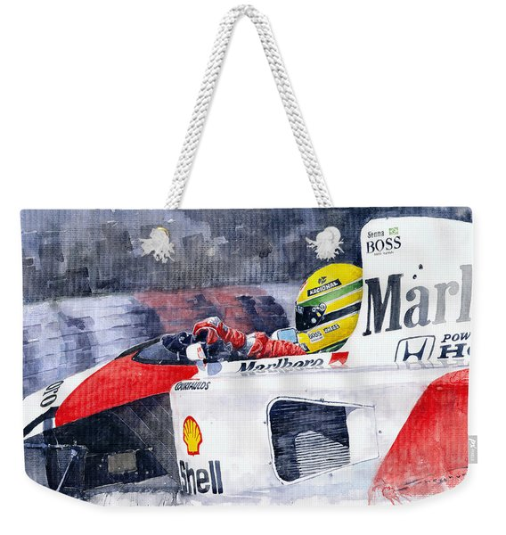 Ayrton Senna Mclaren 1991 Hungarian Gp Weekender Tote Bag