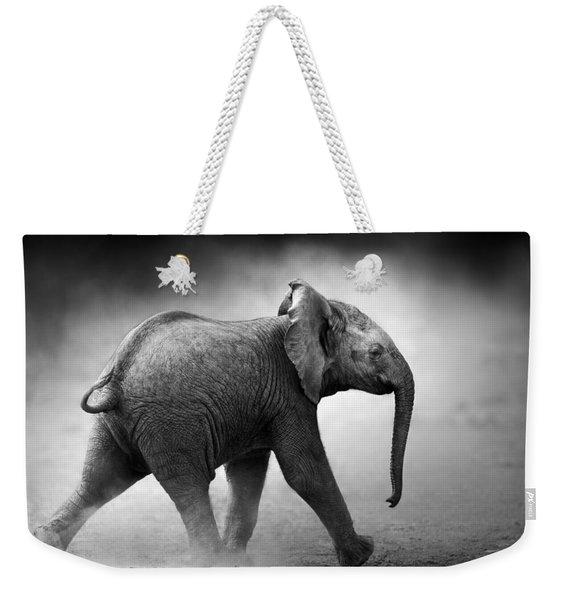 Baby Elephant Running Weekender Tote Bag