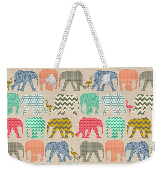 Baby Elephants And Flamingos Linen Weekender Tote Bag