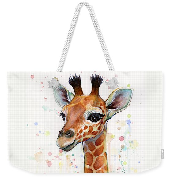 Baby Giraffe Watercolor  Weekender Tote Bag