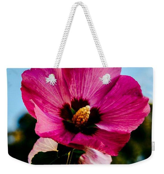 Baby Pink Hollyhock Weekender Tote Bag