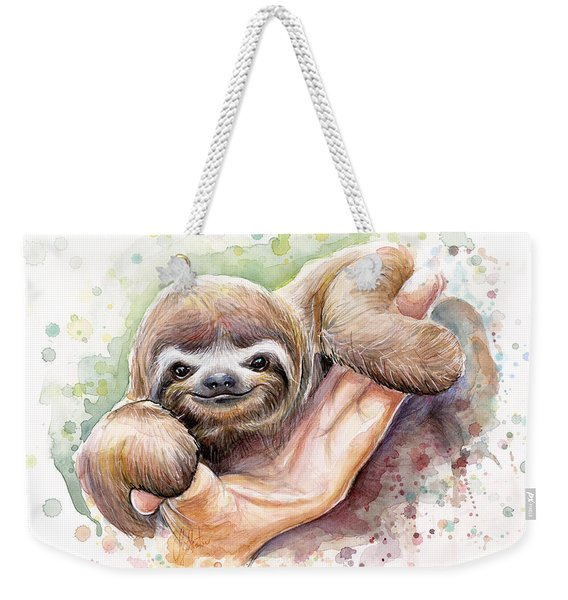 Baby Sloth Watercolor Weekender Tote Bag