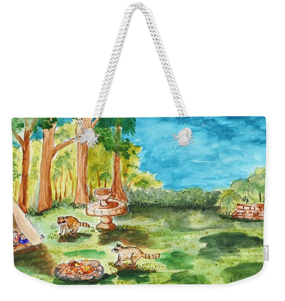 Back Yard Camp Weekender Tote Bag