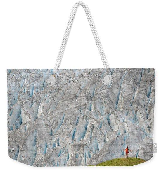 Backpacker Hikes The Harding Icefield Weekender Tote Bag
