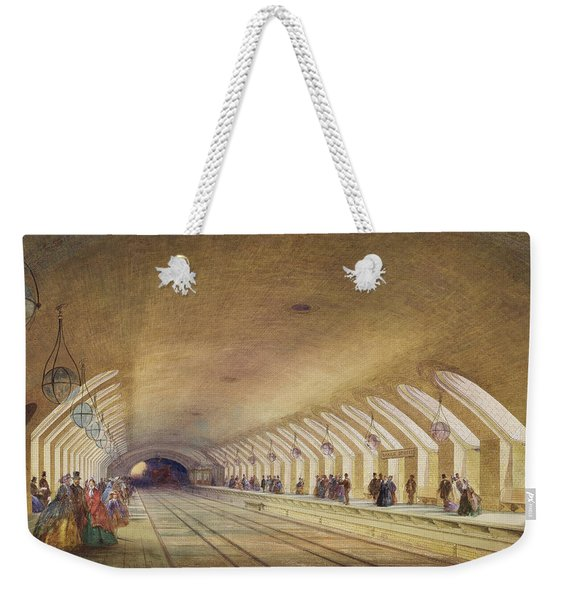 Baker Street Station, 1863 Wc & Bodycolour With Pen & Ink On Paper Weekender Tote Bag