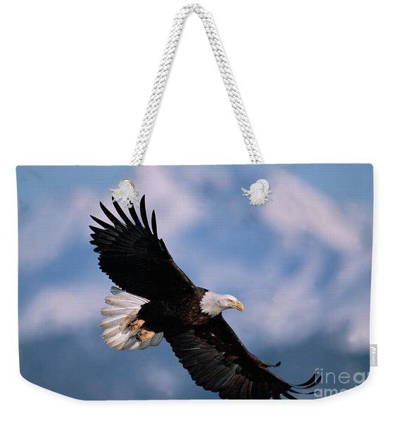 Bald Eagle Flying Kachemak Bay Weekender Tote Bag
