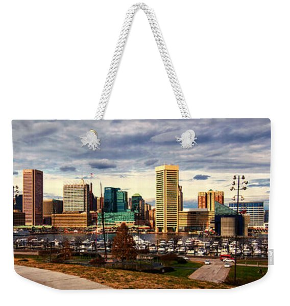 Baltimore Inner Harbor Skyline Panorama Weekender Tote Bag