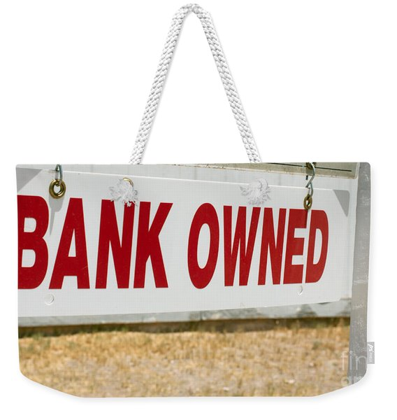 Weekender Tote Bag featuring the photograph Bank Owned Real Estate Sign by Gunter Nezhoda
