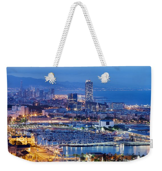 Barcelona Cityscape By Night Weekender Tote Bag