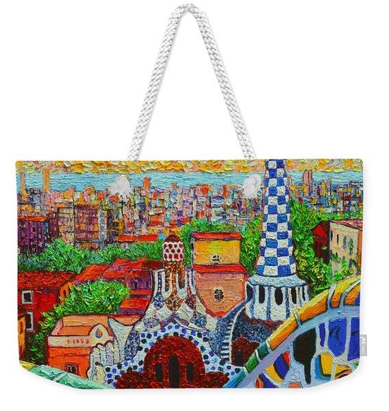 Barcelona Sunrise - Guell Park - Gaudi Tower Weekender Tote Bag