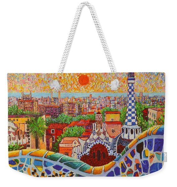 Barcelona Sunrise Light - View From Park Guell Of Gaudi - Square Format Weekender Tote Bag