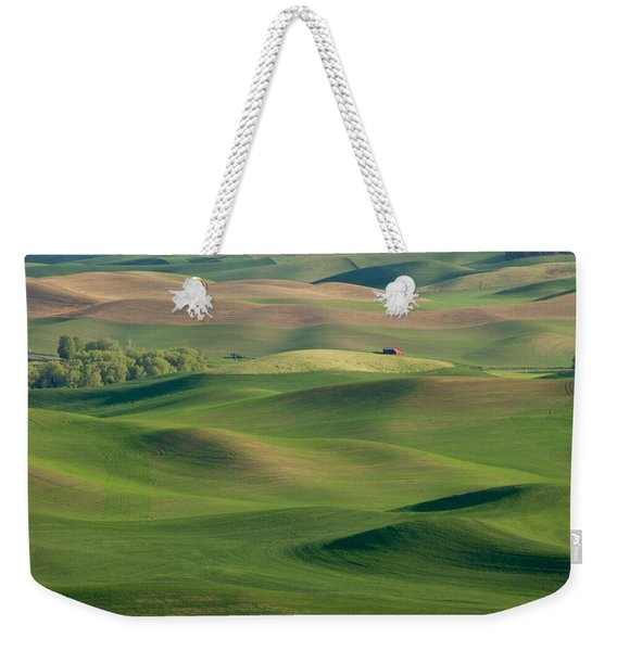 Weekender Tote Bag featuring the photograph Barn Among The Contours by Mary Lee Dereske