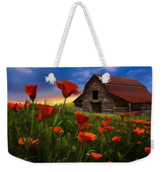 Barn In Poppies Weekender Tote Bag