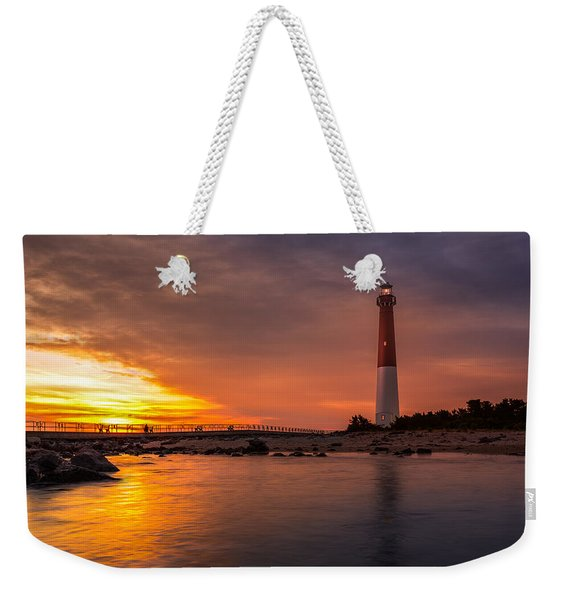 Weekender Tote Bag featuring the photograph Barnegat Sunset Light by Mihai Andritoiu
