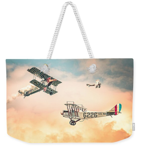 Barnstormers In The Golden Age Of Flight - Replica Fokker D Vll - Spad 7 - Curtiss Jenny Jn-4h Weekender Tote Bag