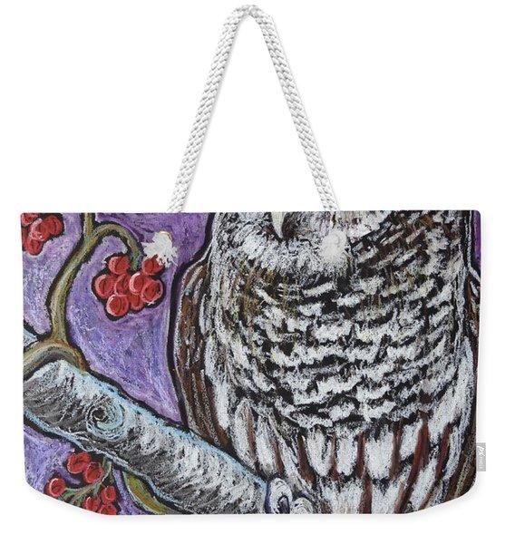 Barred Owl And Berries Weekender Tote Bag