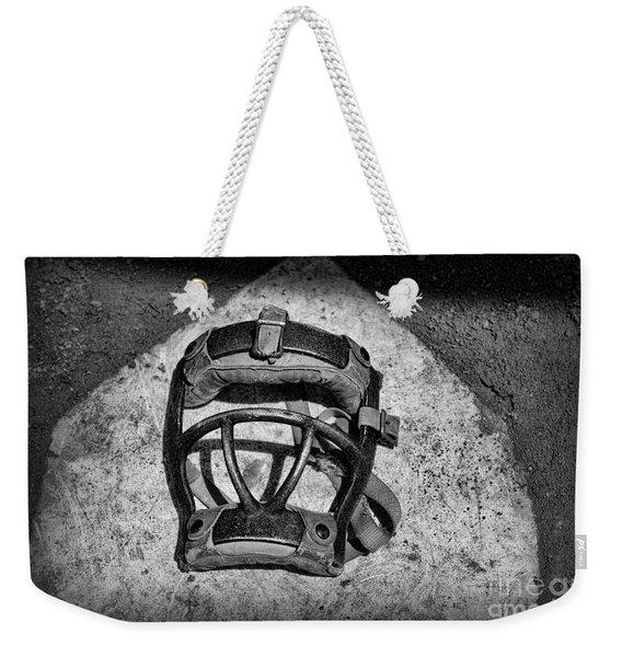 Baseball Catchers Mask Vintage In Black And White Weekender Tote Bag
