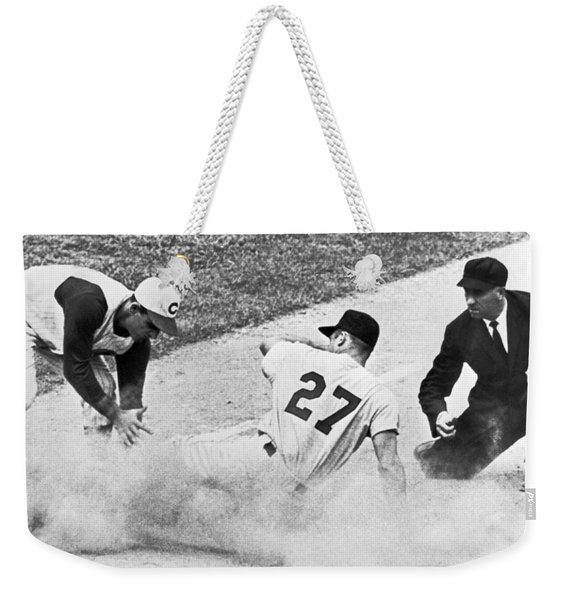 Baseball Runner Out At Third Weekender Tote Bag