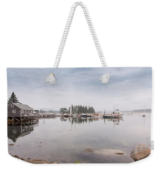 Bass Harbor In The Morning Fog Weekender Tote Bag