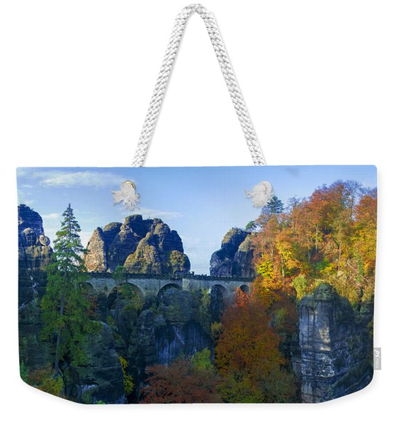 Bastei Bridge In The Elbe Sandstone Mountains Weekender Tote Bag