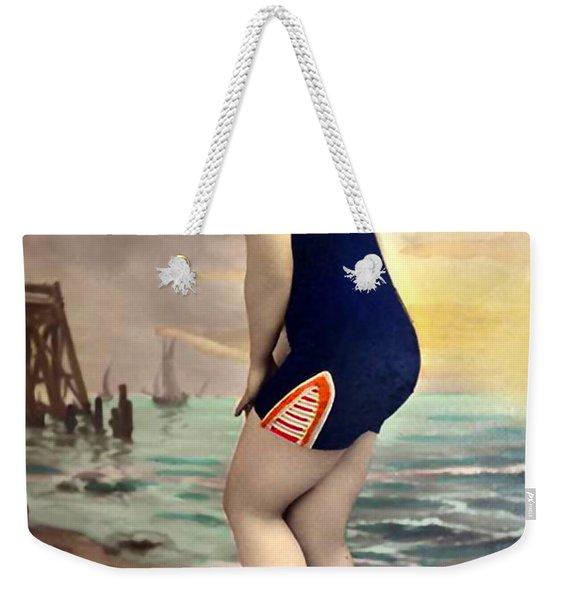 Bathing Beauty In Orange And Navy Bathing Suit Weekender Tote Bag