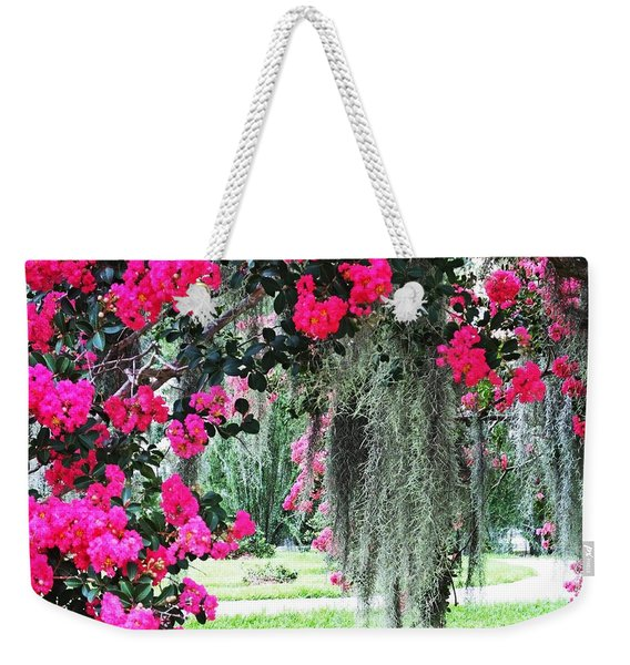 Baton Rouge Louisiana Crepe Myrtle And Moss At Capitol Park Weekender Tote Bag