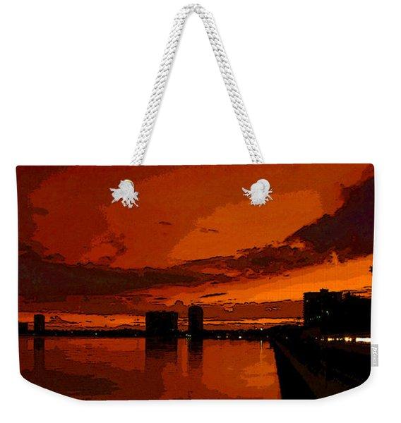 Evening Lights Along Bayshore Weekender Tote Bag