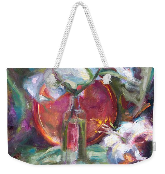 Be Still - Casablanca Lilies With Copper Weekender Tote Bag