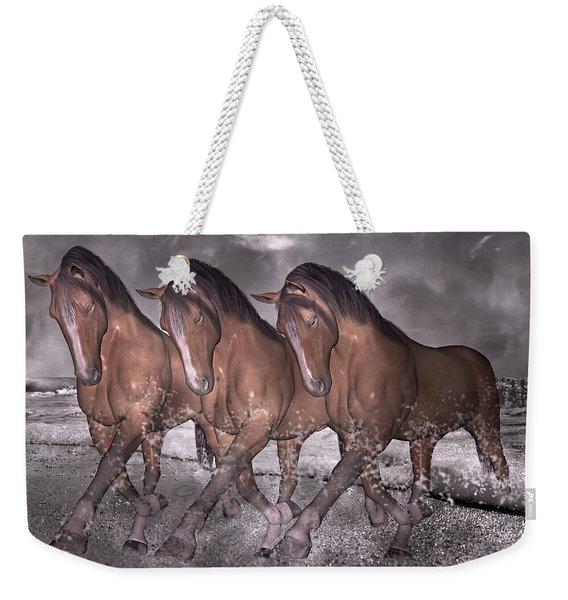 Beach Horse Trio Night March Weekender Tote Bag