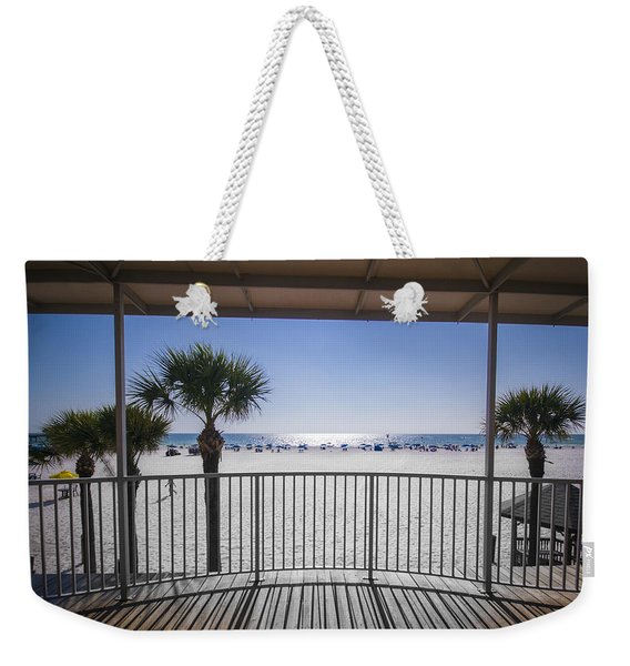 Weekender Tote Bag featuring the photograph Beach Patio by Carolyn Marshall