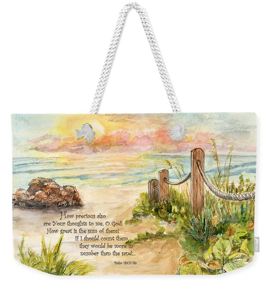 Beach Post Sunrise Psalm 139 Weekender Tote Bag