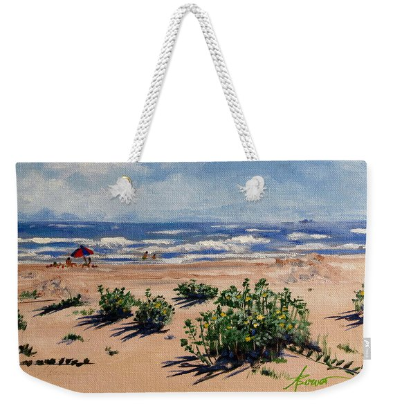 Beach Scene On Galveston Island Weekender Tote Bag