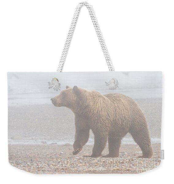 Bear In Fog Weekender Tote Bag