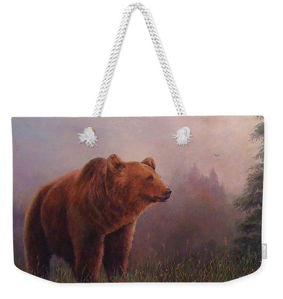 Bear In The Mist Weekender Tote Bag