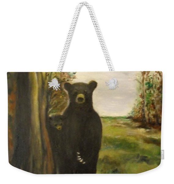 Weekender Tote Bag featuring the painting Bear Necessity by Laurie Lundquist