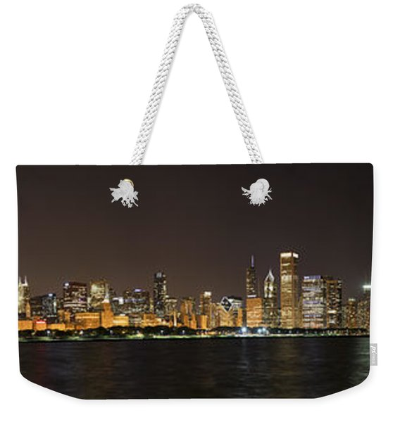 Beautiful Chicago Skyline With Fireworks Weekender Tote Bag
