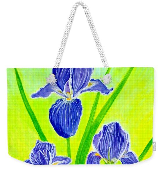 Beautiful Iris Flowers Card Weekender Tote Bag