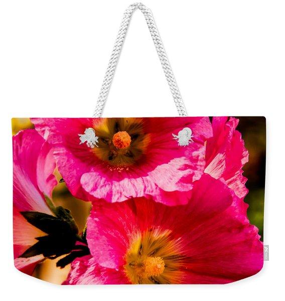 Beautiful Pink Hollyhock Weekender Tote Bag