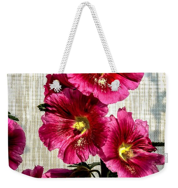 Beautiful Red Hollyhock Weekender Tote Bag