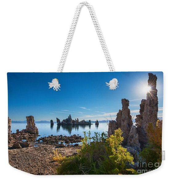 Beautiful Sunrise View Of The Strange Tufa Towers Of Mono Lake. Weekender Tote Bag