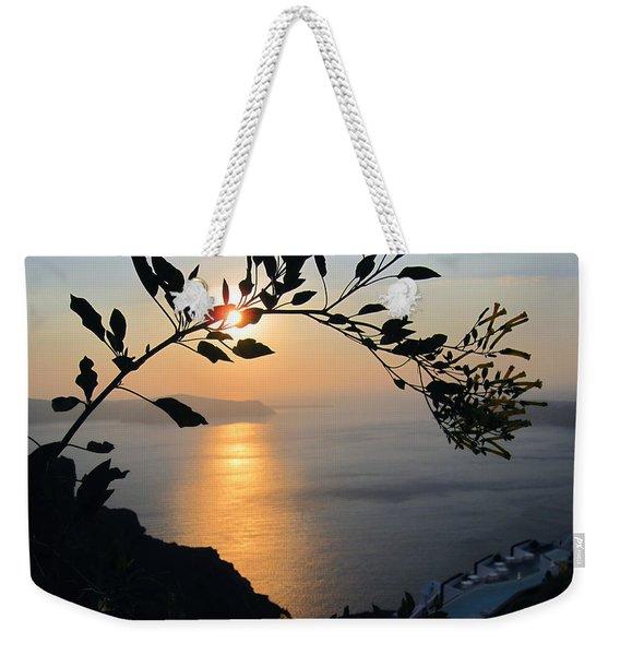 Beautiful Sunset In Santorini Weekender Tote Bag