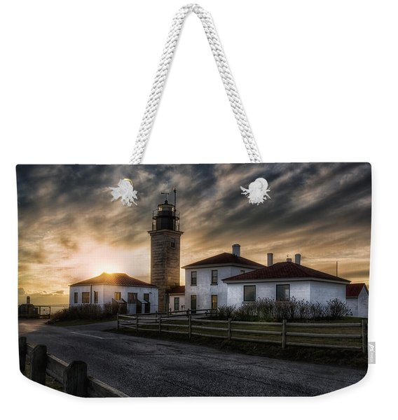 Beavertail Lighthouse Sunset Weekender Tote Bag