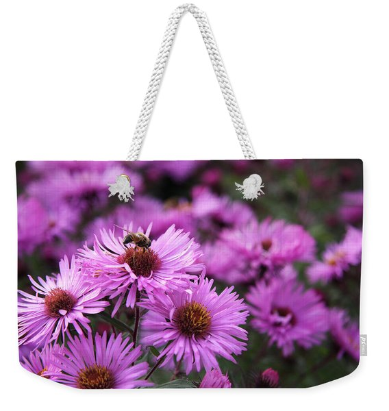 Weekender Tote Bag featuring the photograph Bee On A Daisy by Susan Leonard