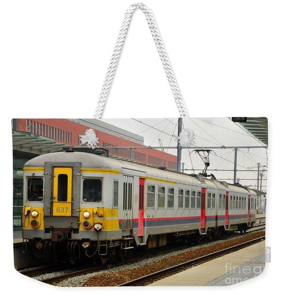 Belgium Railways Commuter Train At Brugge Railway Station Weekender Tote Bag