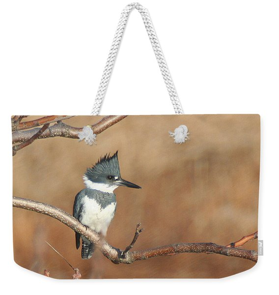 Weekender Tote Bag featuring the pyrography Belted Kingfisher by William Selander